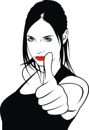 hairy girl: easy woman head illustration with black hair