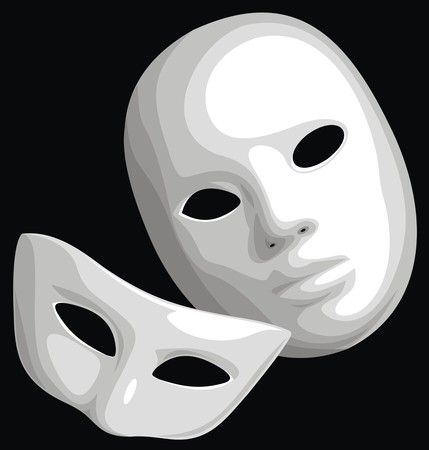weeping: white theatre mask isolated on the black background