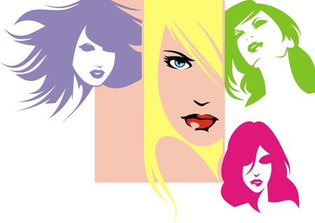 hairy girl: girls with color hairs isolated on the white background Illustration