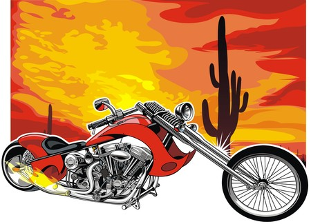 throttle: my original motorbike on the hote desert background