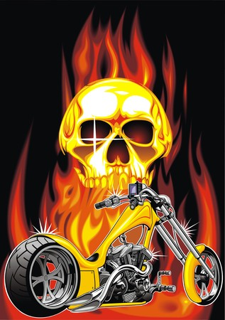 throttle: motorbike and human skull on the fire background