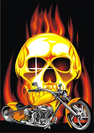 large skull: motorbike and human skull on the fire background