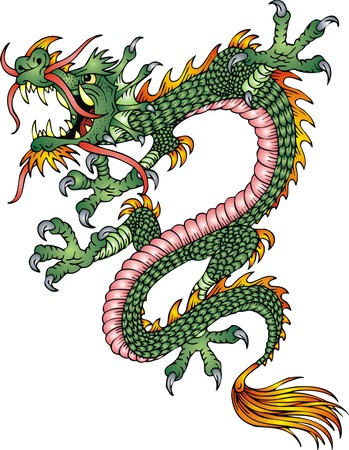japanese background: chinese dragon isolated on the white background