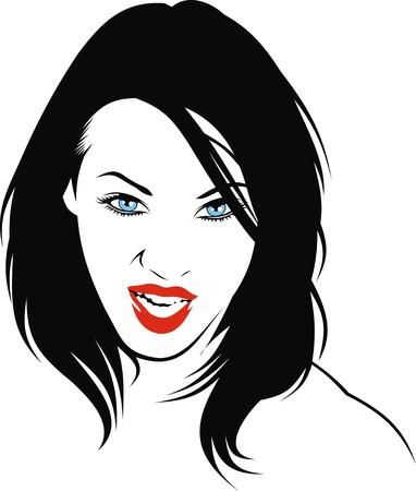 black woman: easy woman head illustration with black hair