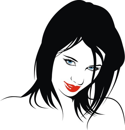 black woman: easy woman head illustration with black hair