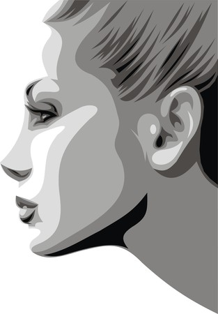 hairy girl: easy woman head illustration with blonde hair Illustration