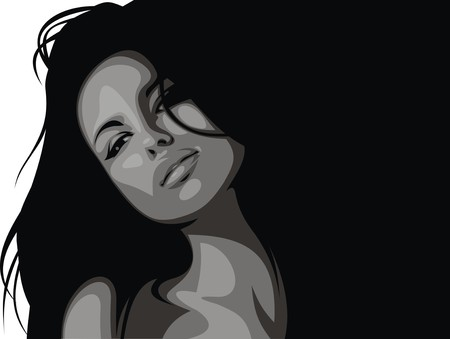 hairy girl: easy woman head illustration with black hair