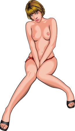 naked girl: hot naked girl  isolated on the white background