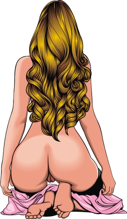 hot naked girl  isolated on the white background