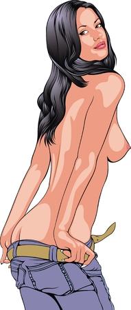 Hot nackte Mädchen auf dem weißen Hintergrund Standard-Bild - 38233026