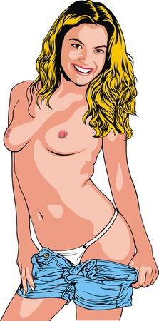 ni�a desnuda: chica desnuda caliente aislado en el fondo blanco Vectores
