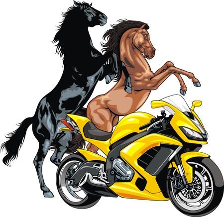 throttle: my original motorbike design and horses on the white background