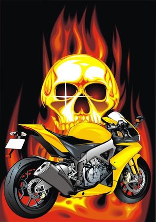 throttle: my original motorbike design on the fire background