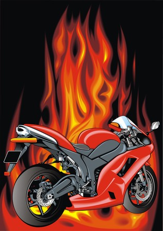 large skull: red motorbike isolated on the fire background