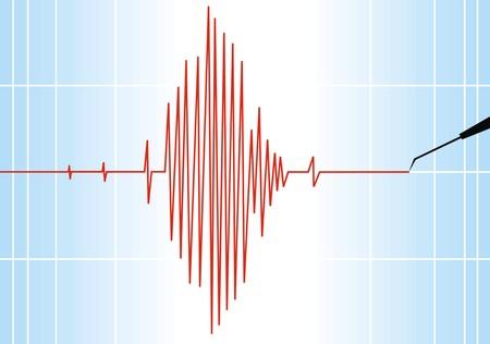 seismograph paper as nice alert scientific background Illustration