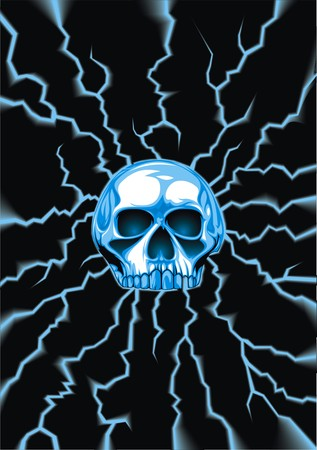 human skull background in the blue color
