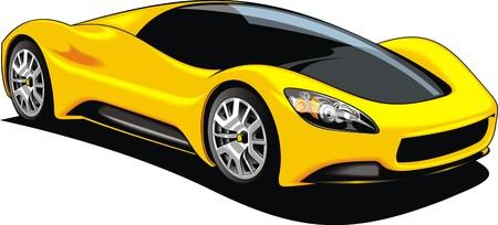sport car isolated on the white background Çizim