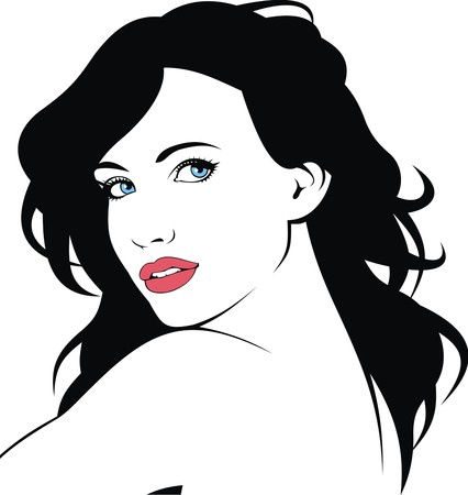 hairy girl: woman face and woman hair isolated on the white background Illustration