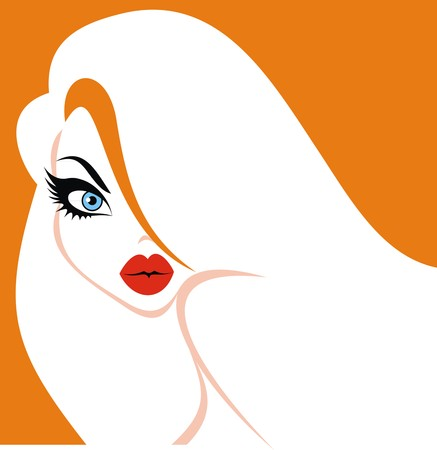 hairy girl: woman face and woman hair isolated on the orange background