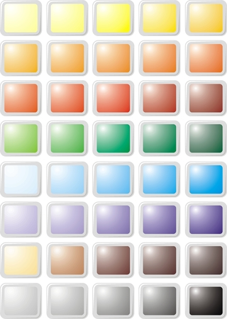 color web buttons isolated on the white background Vector