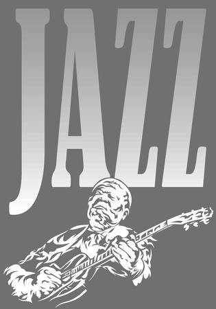 musically: musicista jazz - musica di sottofondo bianco e nero con la gente Vettoriali