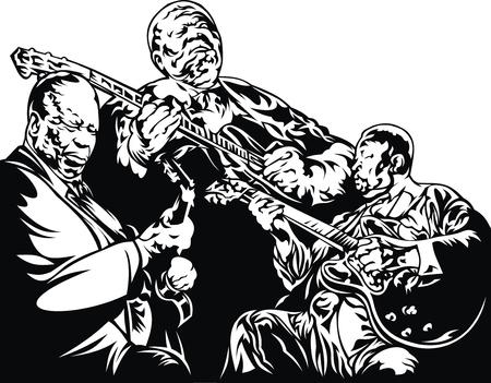 musically: musicisti jazz - musica di sottofondo in bianco e nero con la gente