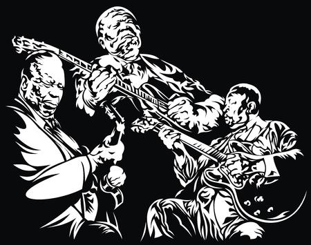 musically: jazz - musica di sottofondo bianco e nero con la gente Vettoriali