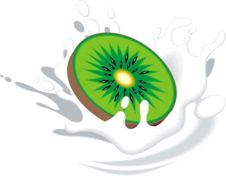 plunge: kiwi in the milk isolated on the white background Illustration
