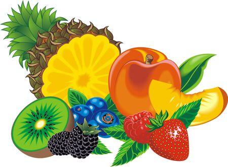 seasoned: exotic fruits isolated on the white background