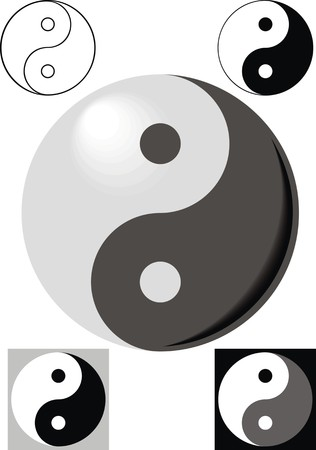 jing and jang symbols isolated on the white background