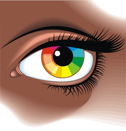 envisage: eye with color pallette as graphic background