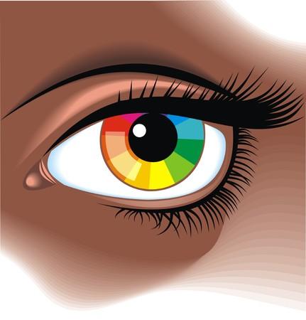 pallette: oeil avec palette de couleurs en fond graphique Illustration