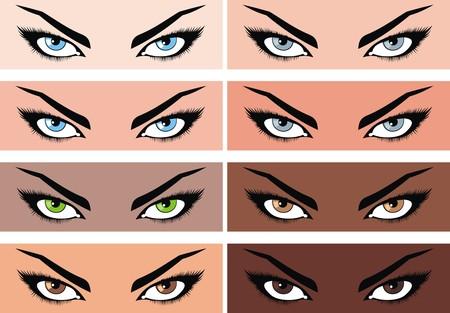 couleur de peau: les femmes yeux collection avec une couleur diff�rente de la peau