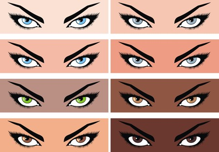 envisage: women eyes collection with different skin color Illustration