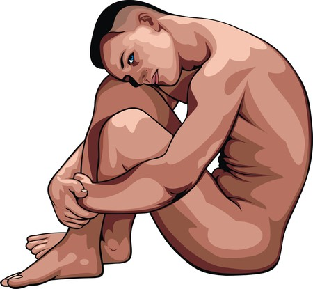 naked male: naked man isolated on the white background
