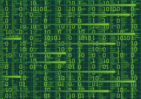 numerical code: green text on the black as sci-fi background Illustration