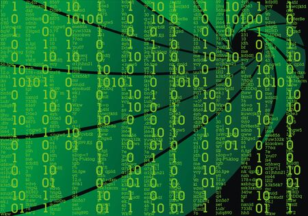 cryptogram: green text on the black as sci-fi background Illustration