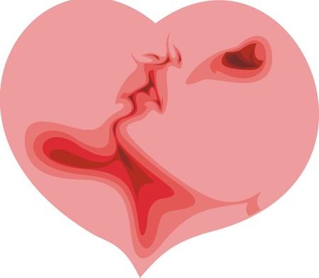 hape: cuore di San Valentino con due amanti isolato su sfondo bianco