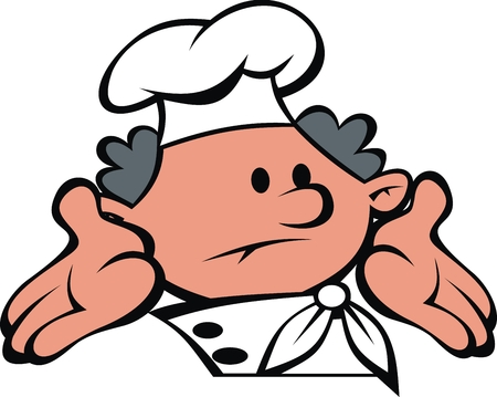 chef face and hands isolated on the white background Vector