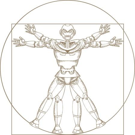 leonardo da vinci: mechanical man construction isolated on the white background