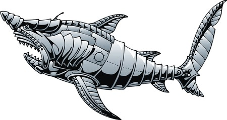 nemo: shark as steel submarine isolated on the white background