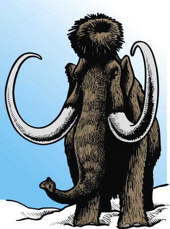 mammoth: prehistoric mammoth isolated on the blue background Illustration