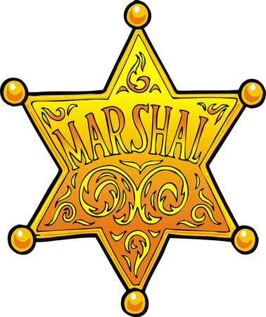 the marshal: marschal (sheriff star) isolated on the white background Illustration