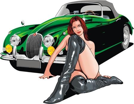 costume de bain: vieille voiture et femme sexy isolé sur le fond blanc