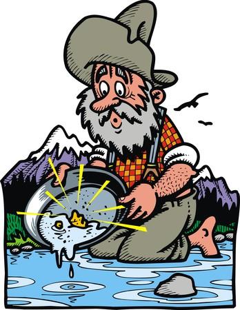 goudzoeker aan het werk (uit het wilde westen) Stock Illustratie