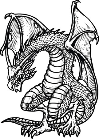 monsters: old dragon isolated on the white background