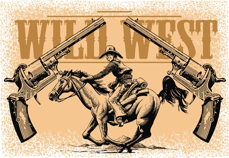 colt: old cowboy and horse from wild wide west Illustration