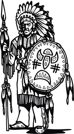 native american man: old indian man isolated on the white background Illustration