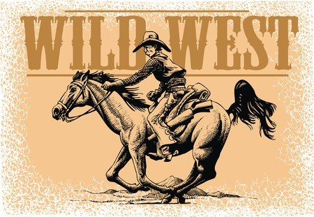 old cowboy and horse from wild wide west Illustration