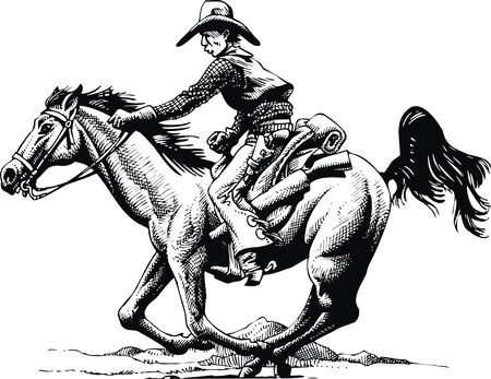 old cowboy: old cowboy and horse from wild wide west Illustration